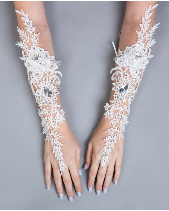 Ivory Long Length Lace Gloves