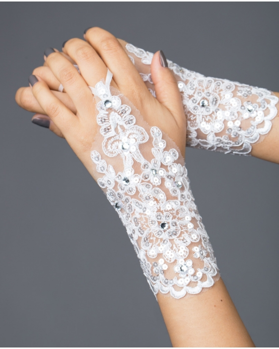 Ivory Short Length Lace Gloves