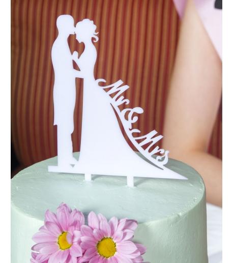 """Mr&Mrs"" Bride and Groom Cake Topper"