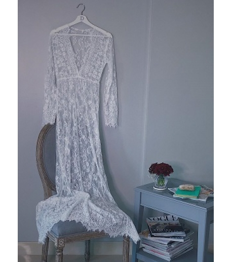 Long Sleeve Floral Lace Night Dress