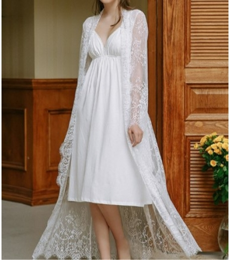 Long Sleeve Lace Robe with Attached Belt