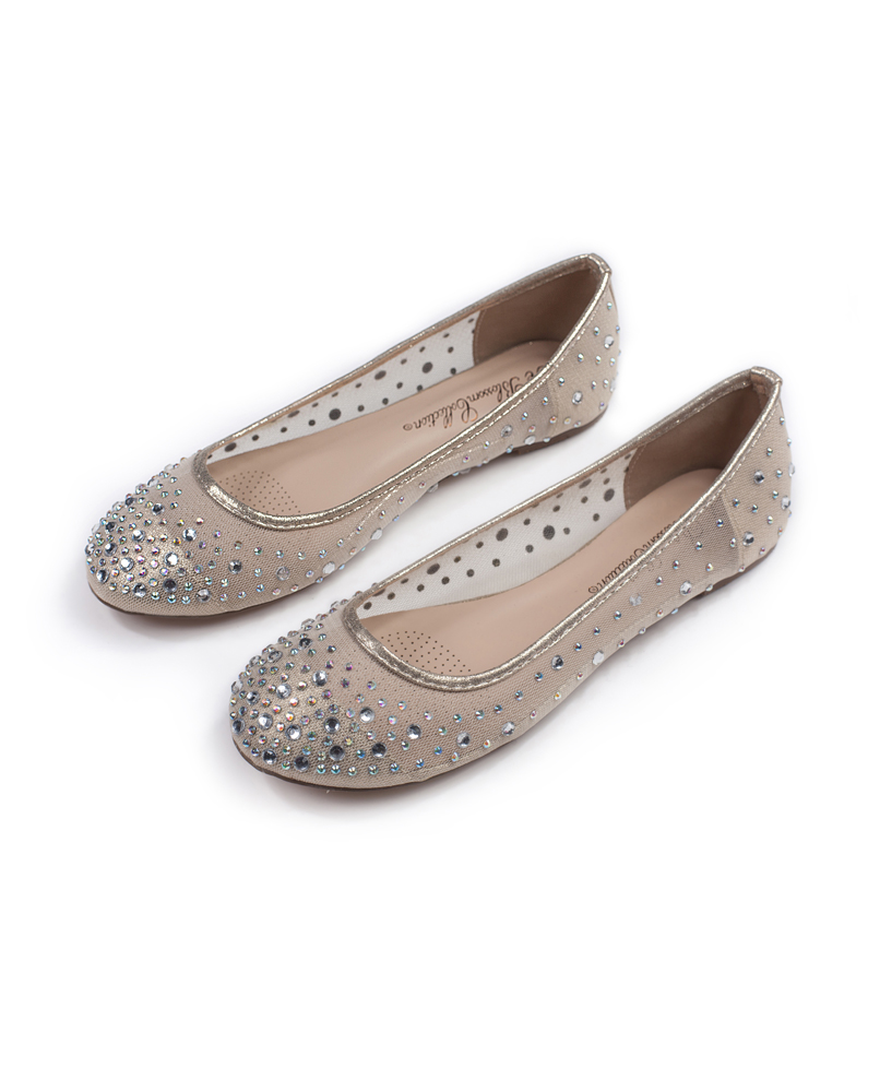 1dc9555d923 Mesh Ballet Flat with Scattered Crystals