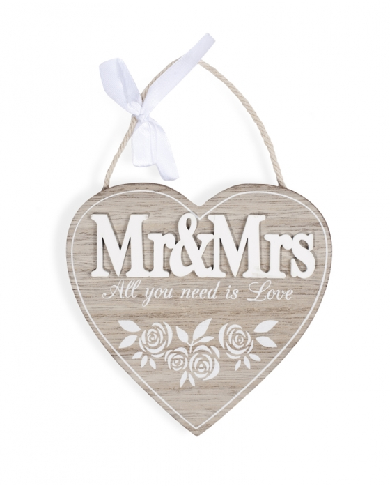 """Mr&Mrs"" Wooden Heart Sign"