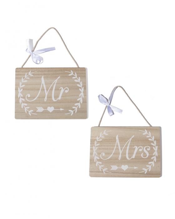 """""""Mr&Mrs"""" Wooden Sign"""