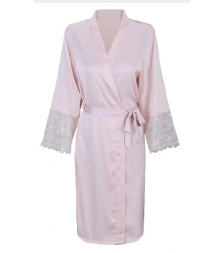 Satin Robe with Lace Trim Sleeve