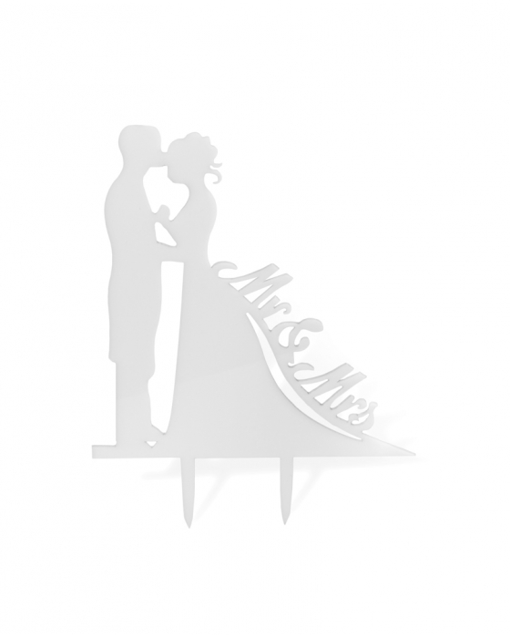 """Mr&Mrs"" Bride and Groom Cake Topper"