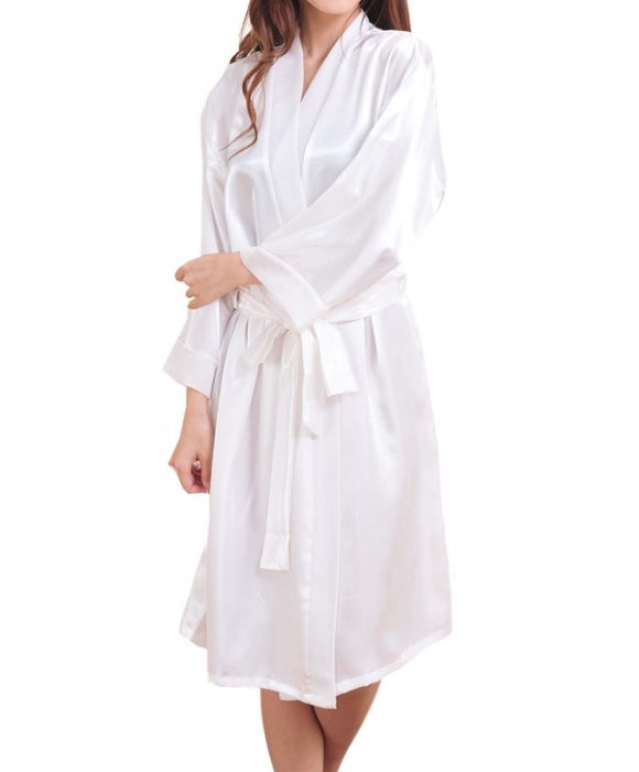 White Satin Robe