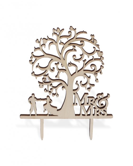 """Mr&Mrs"" Tree Cake Topper"