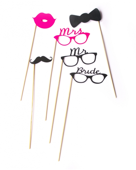 Bride & Groom Photo Booth Props