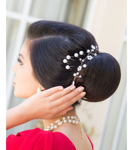Crystal & Pearl Long Headpiece