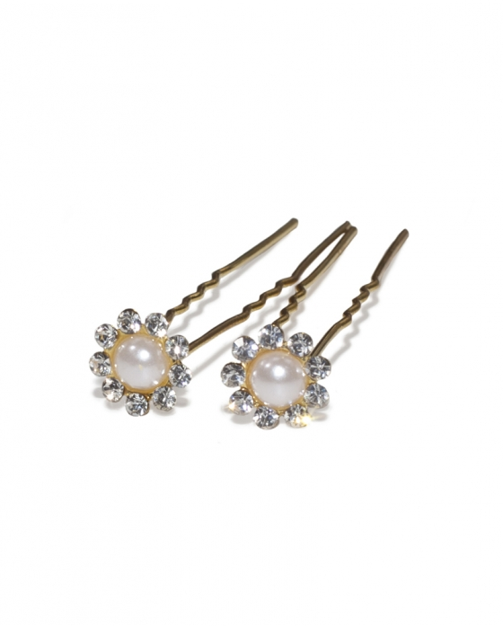 Crystal Flower & Pearl Hair Pin
