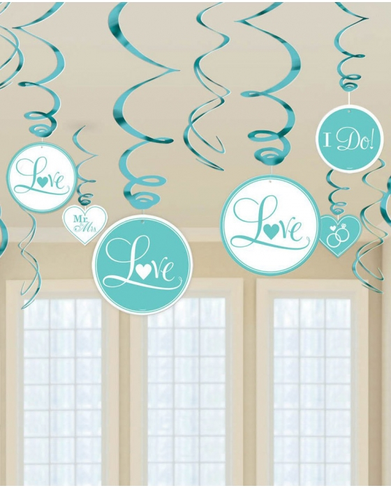 "Teal ""I Do"" Swirl Decoration"