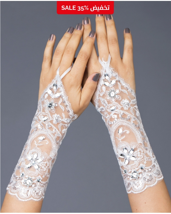 Medium Length Rhinestone Gloves