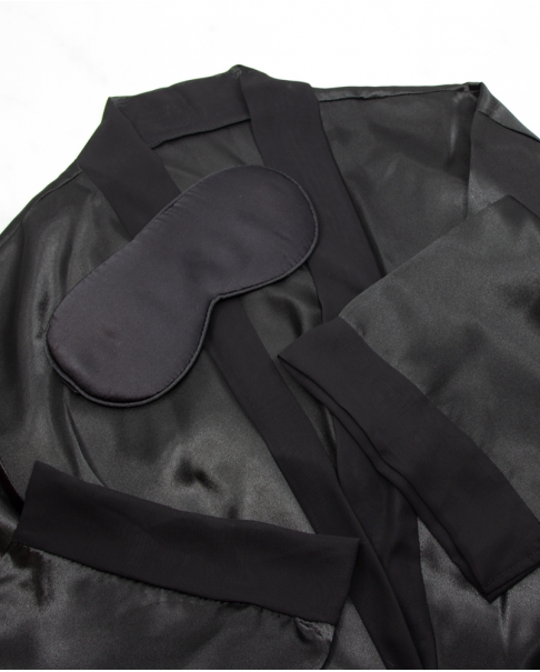 Black Sleeping Mask and Satin Robe Set
