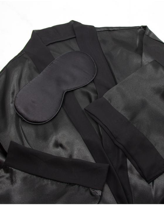 Black Sleeping Mask and Satin Robe Set (Personalized)