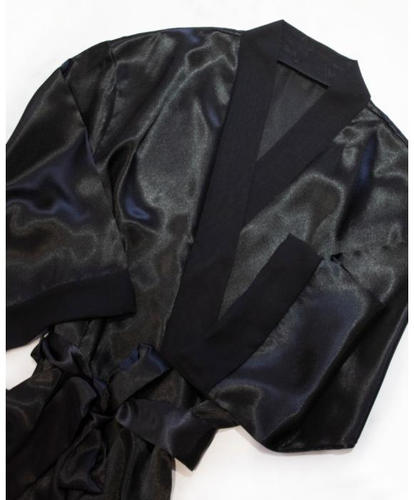 Black Sleeping Mask and Satin Robe Set