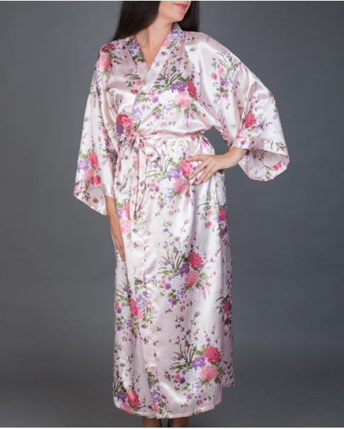 Pink Long Floral Satin Robe