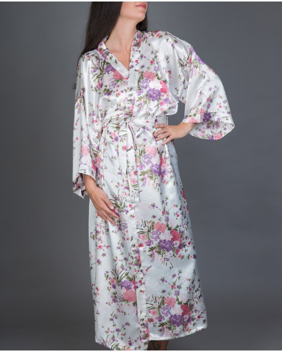 White Long Floral Satin Robe
