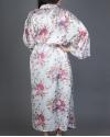 White Long Floral Satin Robe