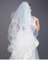 White Four-tier Ribbon Edge Veil