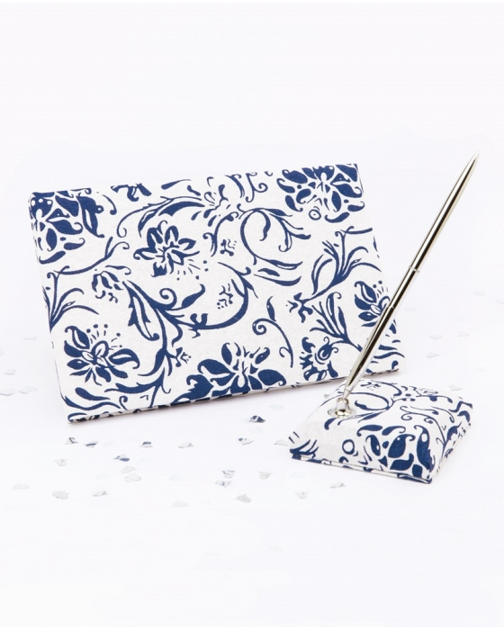 Blue and White Guest Book Set
