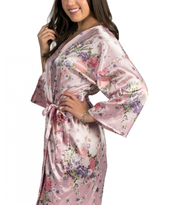 Pink Long Floral Satin Robe
