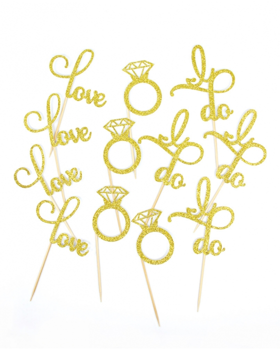Gold Glitter Engagement Toppers
