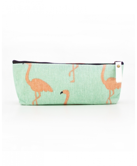 Green Flamingo Makeup Pouch
