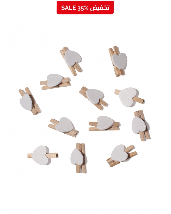 Heart Wooden Clips