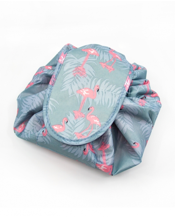 Light Blue Flamingo Drawstring Cosmetics Bag