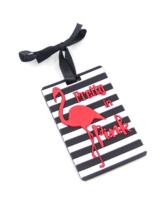 Striped Flamingo Luggage Tag