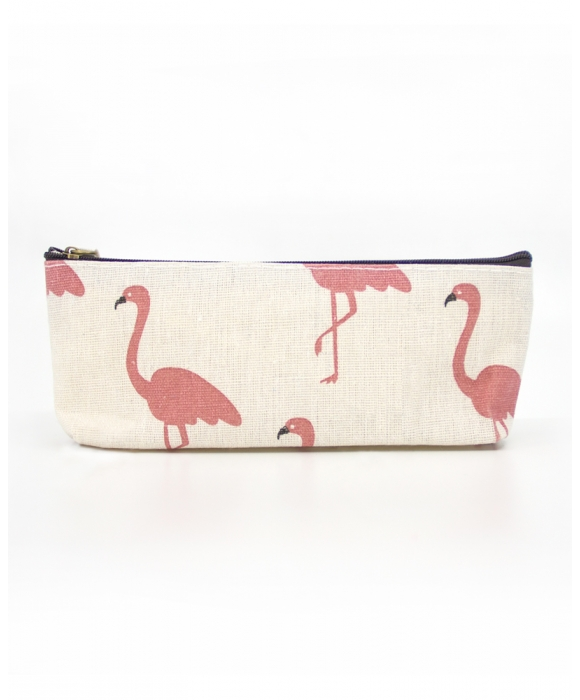 White Flamingo Makeup Pouch