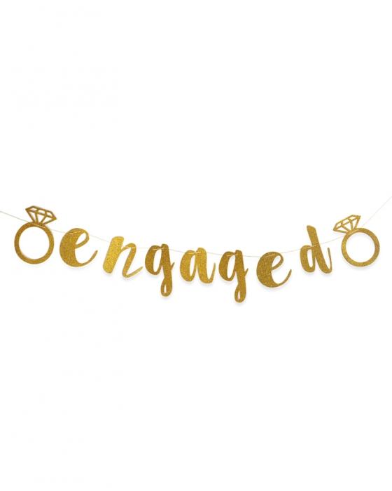 "Gold Glitter ""Engaged"" Banner"