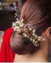 Long Rhinestone and Pearl Gold Headband