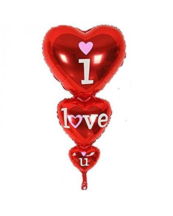 """3 hearts """"I love you"""" balloon"""