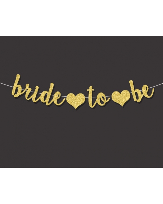 "Gold glitter  ""Bride to be"" banner"