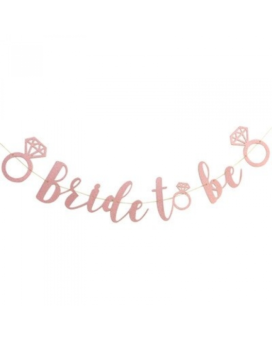 "pink glitter ""bride to be"" banner"