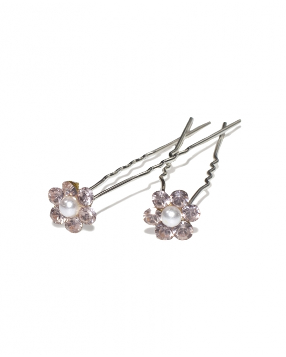 Pink Crystal Flower and Pearl Hair Pin