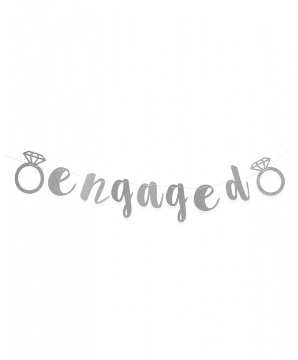 "Silver Glitter ""Engaged"" Banner"