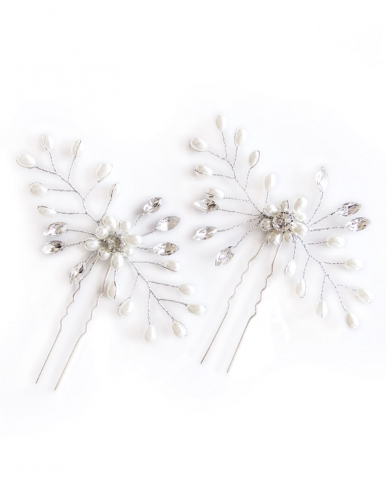 Silver Pearl and Crystal Hair Pins