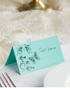 Teal Butterfly Name Place Cards