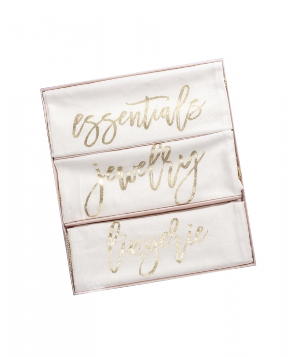 Travel Bags in Gold Writing