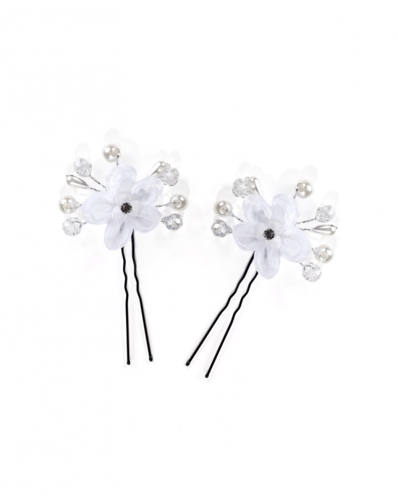 White Flowers with Pearls Hair Pin